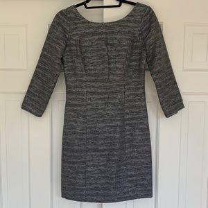 Shoshanna Metallic Silver / Grey Tweed Bow Dress